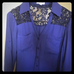 Express Navy lace blouse